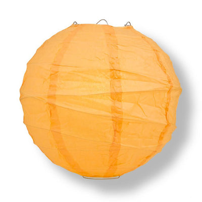 "6"" Papaya Round Paper Lantern, Crisscross Ribbing, Hanging Decoration"