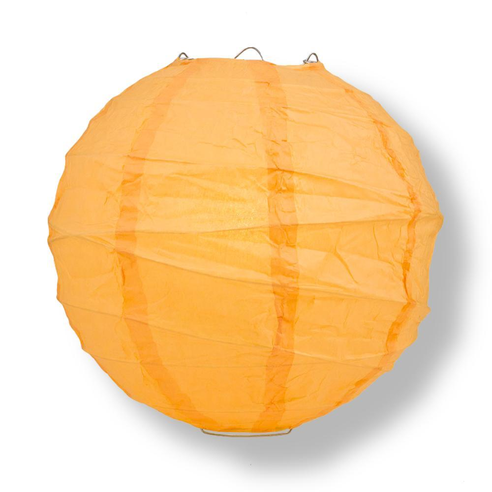 "16"" Papaya Round Paper Lantern, Crisscross Ribbing, Chinese Hanging Wedding & Party Decoration"
