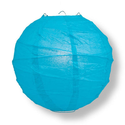 "16"" Turquoise Round Paper Lantern, Crisscross Ribbing, Chinese Hanging Wedding & Party Decoration"