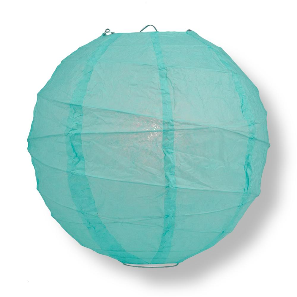 "24"" Water Blue Round Paper Lantern, Crisscross Ribbing, Chinese Hanging Wedding & Party Decoration"
