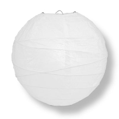 "8"" White Round Paper Lantern, Crisscross Ribbing, Chinese Hanging Wedding & Party Decoration"