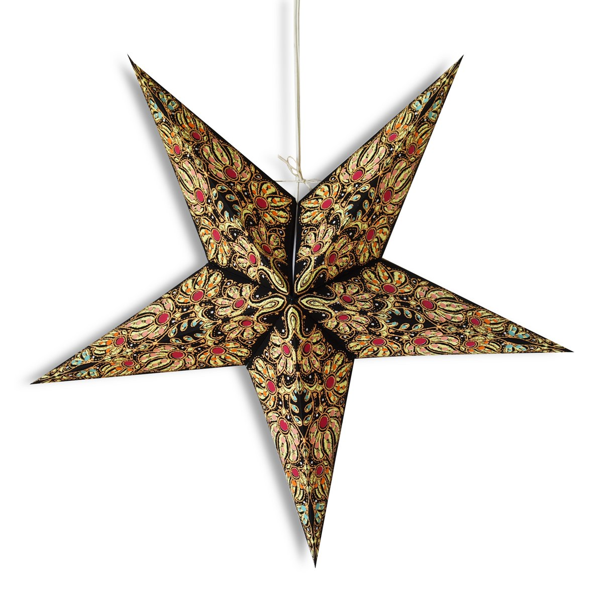 "24"" Black / Gold Marine Paper Star Lantern, Hanging Wedding & Party Decoration"