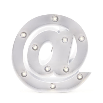 BLOWOUT White Marquee Light Symbol '@ / At Web Internet' LED Metal Sign (8 Inch, Battery Operated w/ Timer)