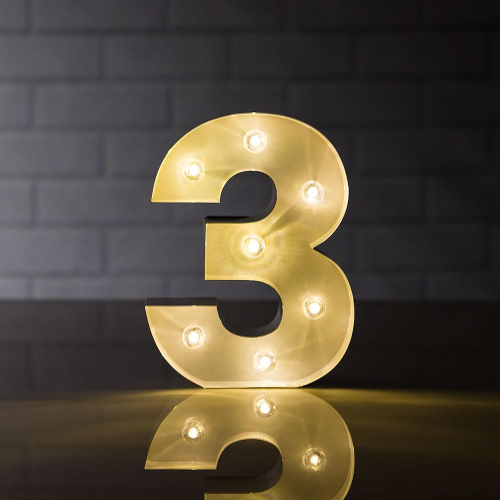 BLOWOUT Marquee Light Number '3' LED Metal Sign (8 Inch, Battery Operated)