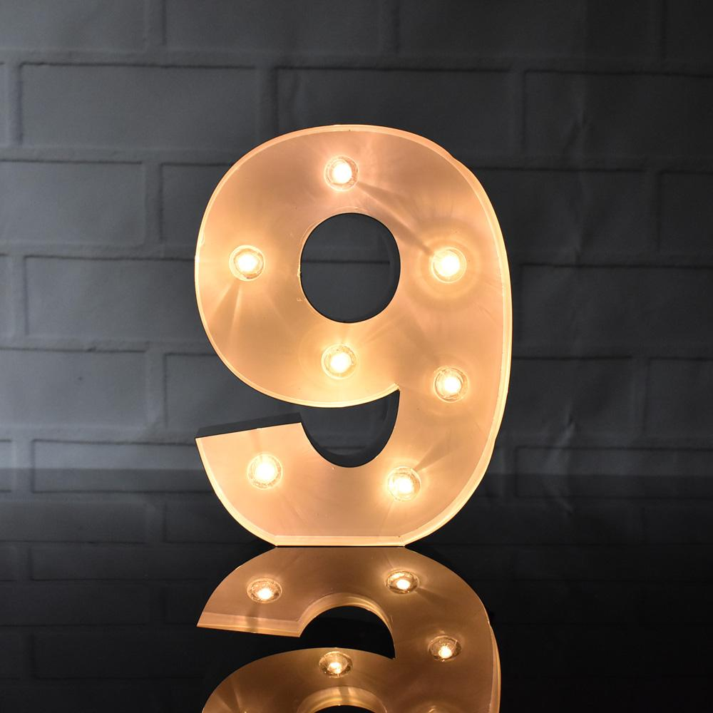 BLOWOUT Marquee Light Number '9' LED Metal Sign (8 Inch, Battery Operated)