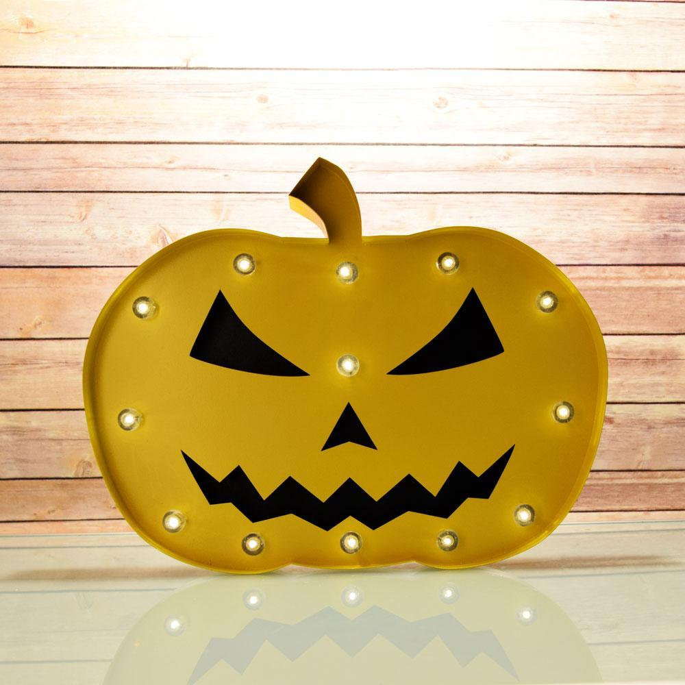 Halloween Marquee Light Jack-O-Lantern 1 LED Metal Sign (Battery Operated) (20 PACK) - AsianImportStore.com - B2B Wholesale Lighting and Décor