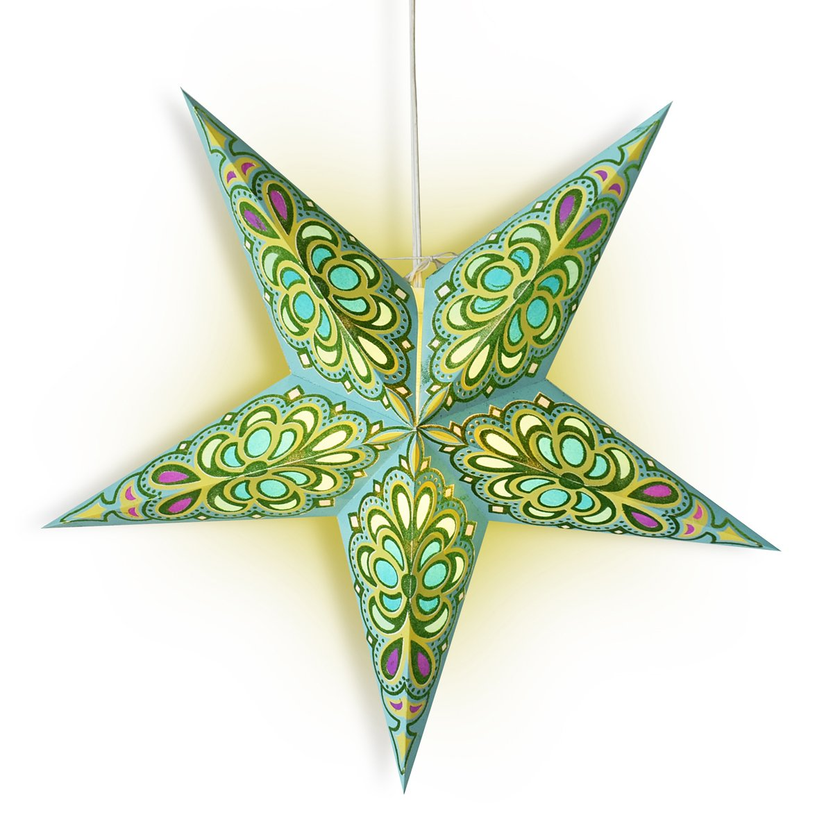 "24"" Green / Turquoise Merry Gold Glitter Paper Star Lantern, Chinese Hanging Wedding & Party Decoration - AsianImportStore.com - B2B Wholesale Lighting and Decor"