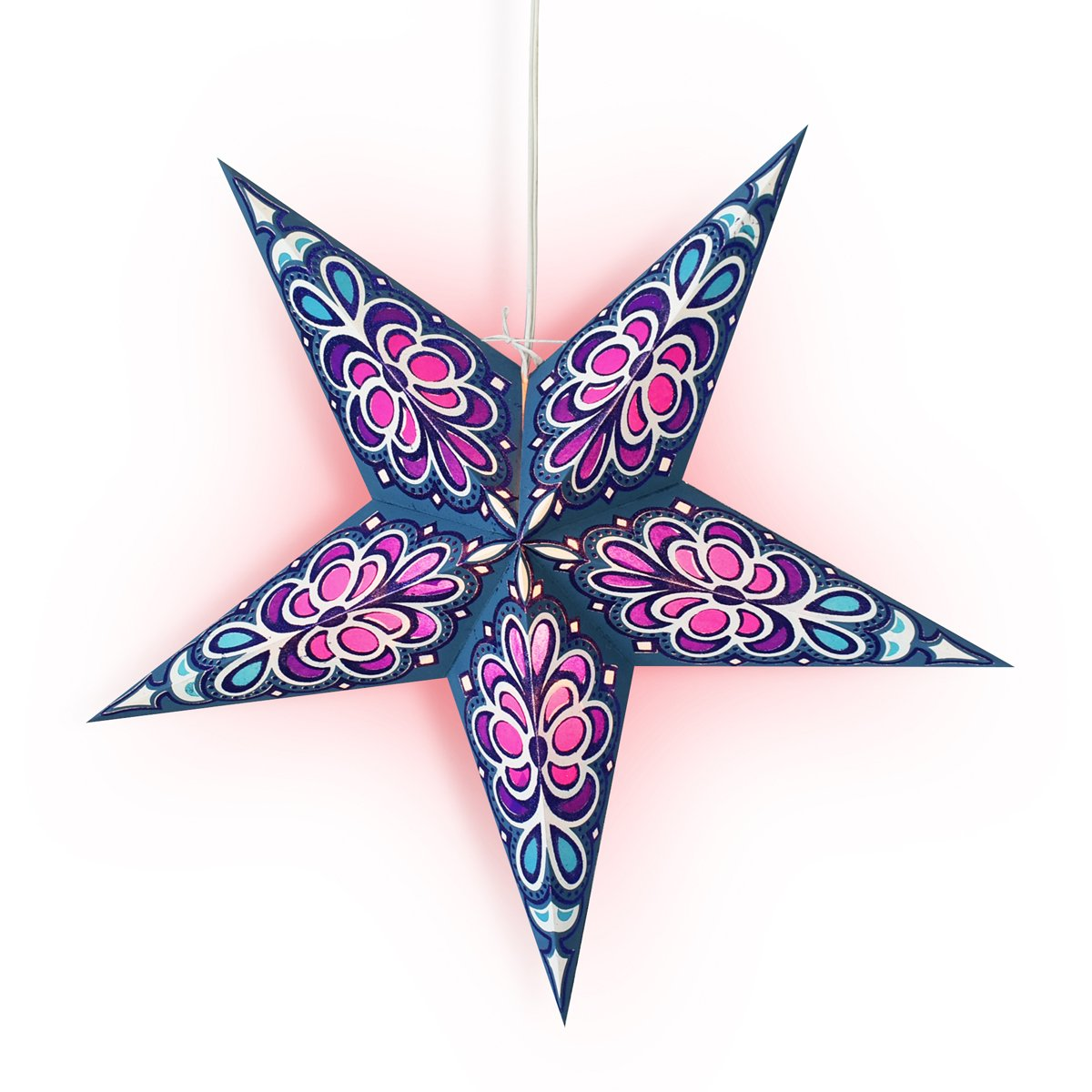 "24"" Blue Merry Gold Glitter Paper Star Lantern, Hanging Wedding & Party Decoration - AsianImportStore.com - B2B Wholesale Lighting and Decor"