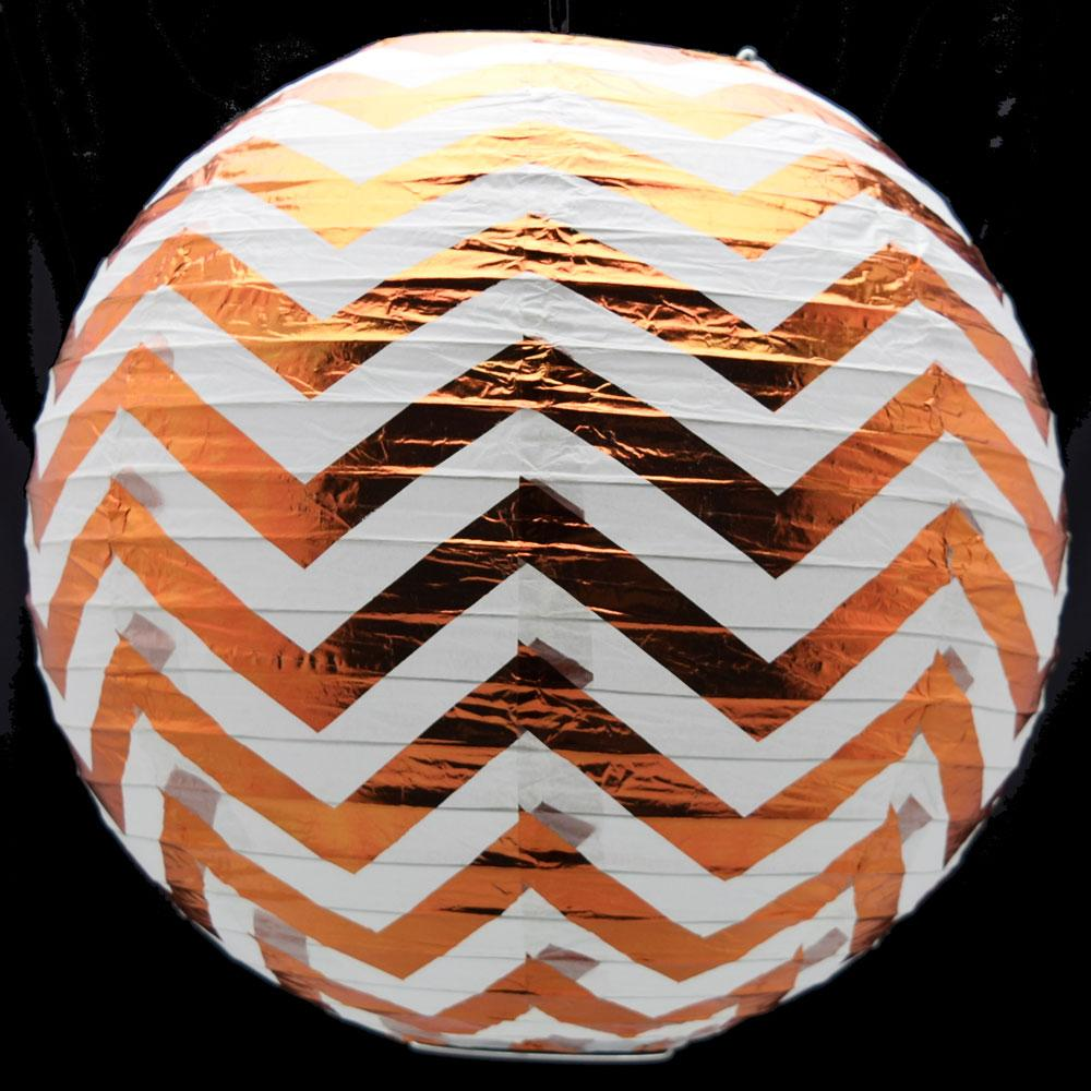 "14"" Copper Chevron Metallic Foil Paper Lantern, Even Ribbing, Hanging Chinese Hanging Wedding & Party Decoration - AsianImportStore.com - B2B Wholesale Lighting and Decor"