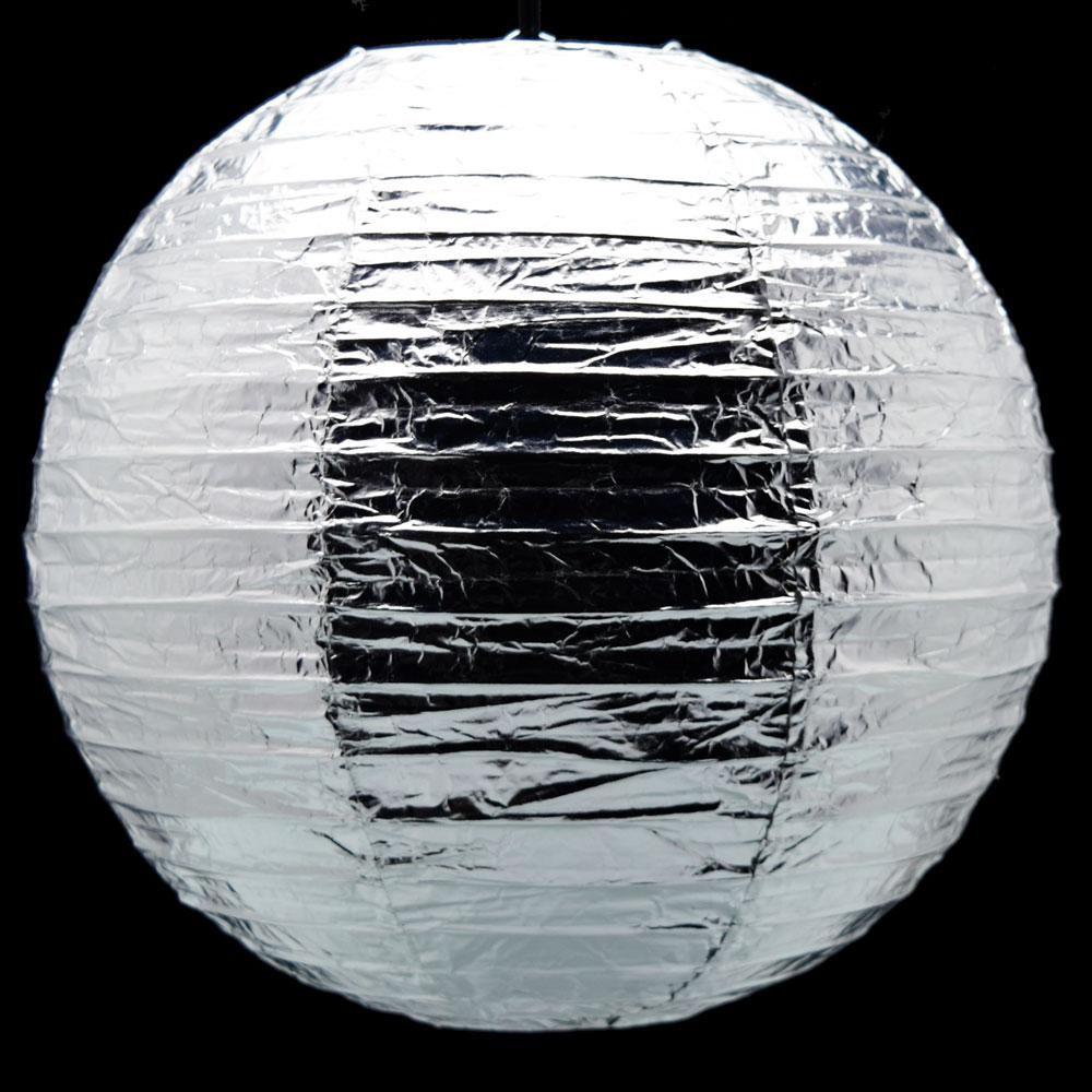 "12"" Silver Metallic Foil Paper Lantern, Even Ribbing, Hanging Chinese Hanging Wedding & Party Decoration - AsianImportStore.com - B2B Wholesale Lighting and Decor"