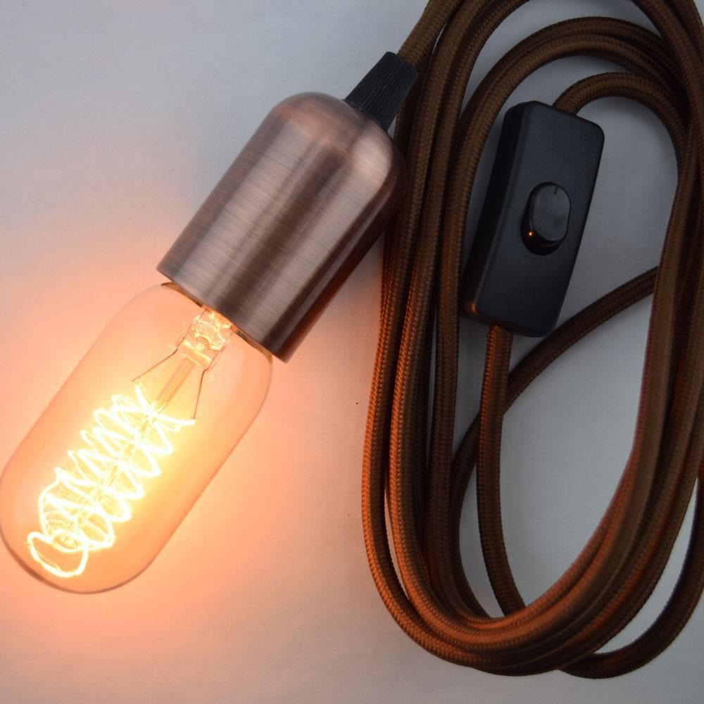 Modern Metal Copper Pendant Light Lamp Cord w/ Braided Cloth Cord, Switch, 11 FT - Electrical Swag Light Kit