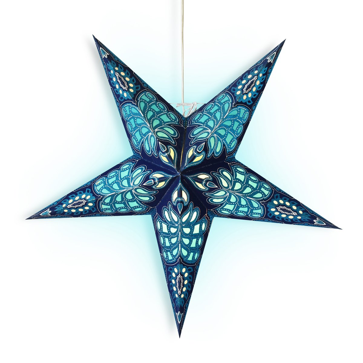 "3-PACK + Cord | Blue Monarch Glitter 24"" Illuminated Paper Star Lanterns and Lamp Cord Hanging Decorations"