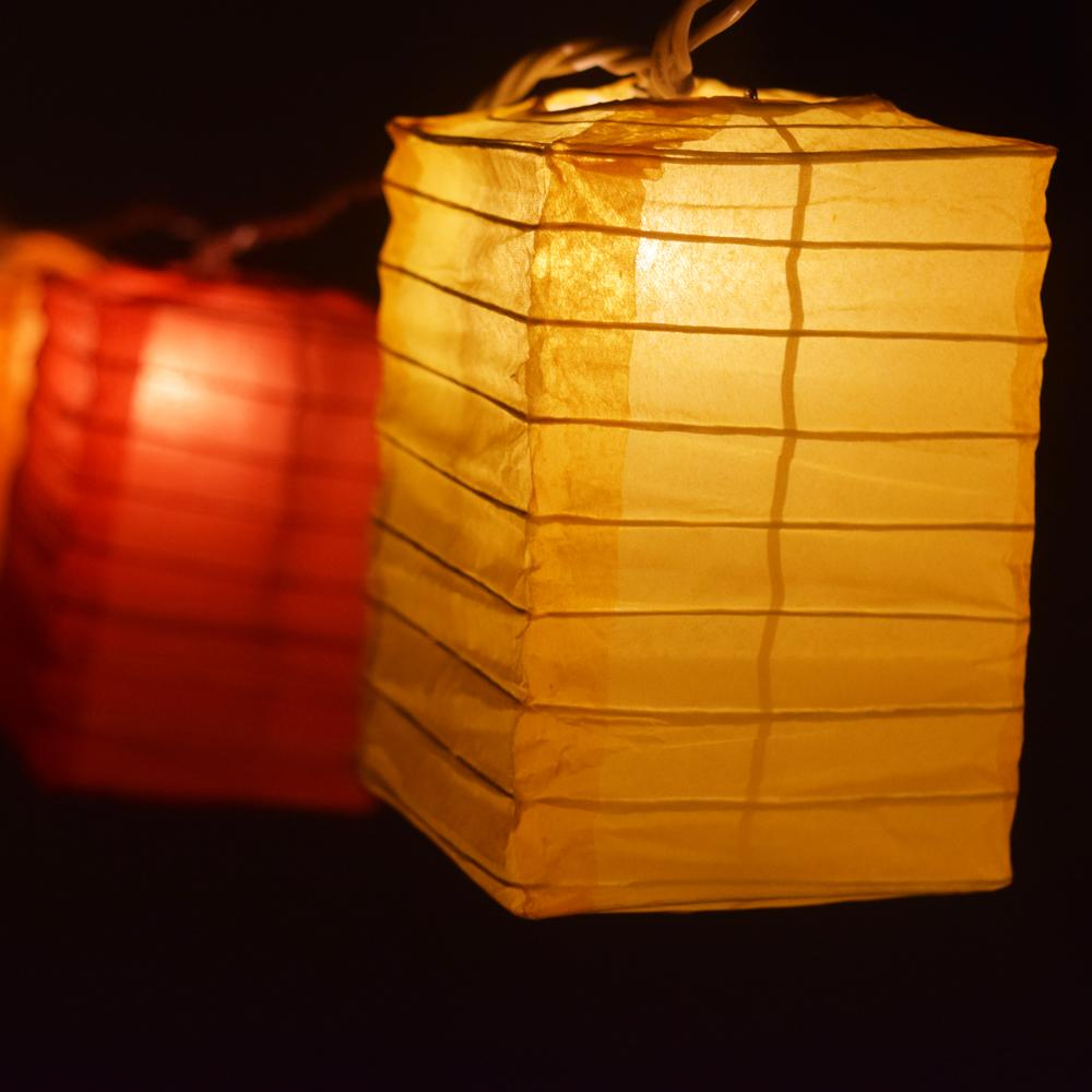 Multi-Color Hako Box Shaped Paper Lantern String String Lights (8FT, Expandable)