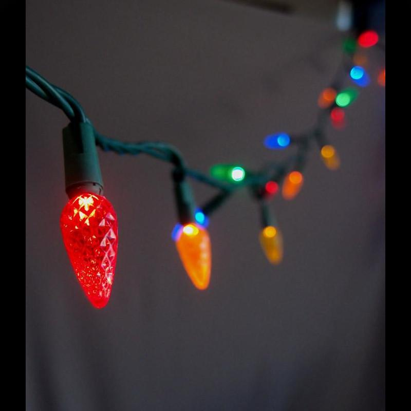 BLOWOUT 70 Outdoor RGB LED C6 Strawberry String Lights, 24 FT Green Cord, Weatherproof, Expandable