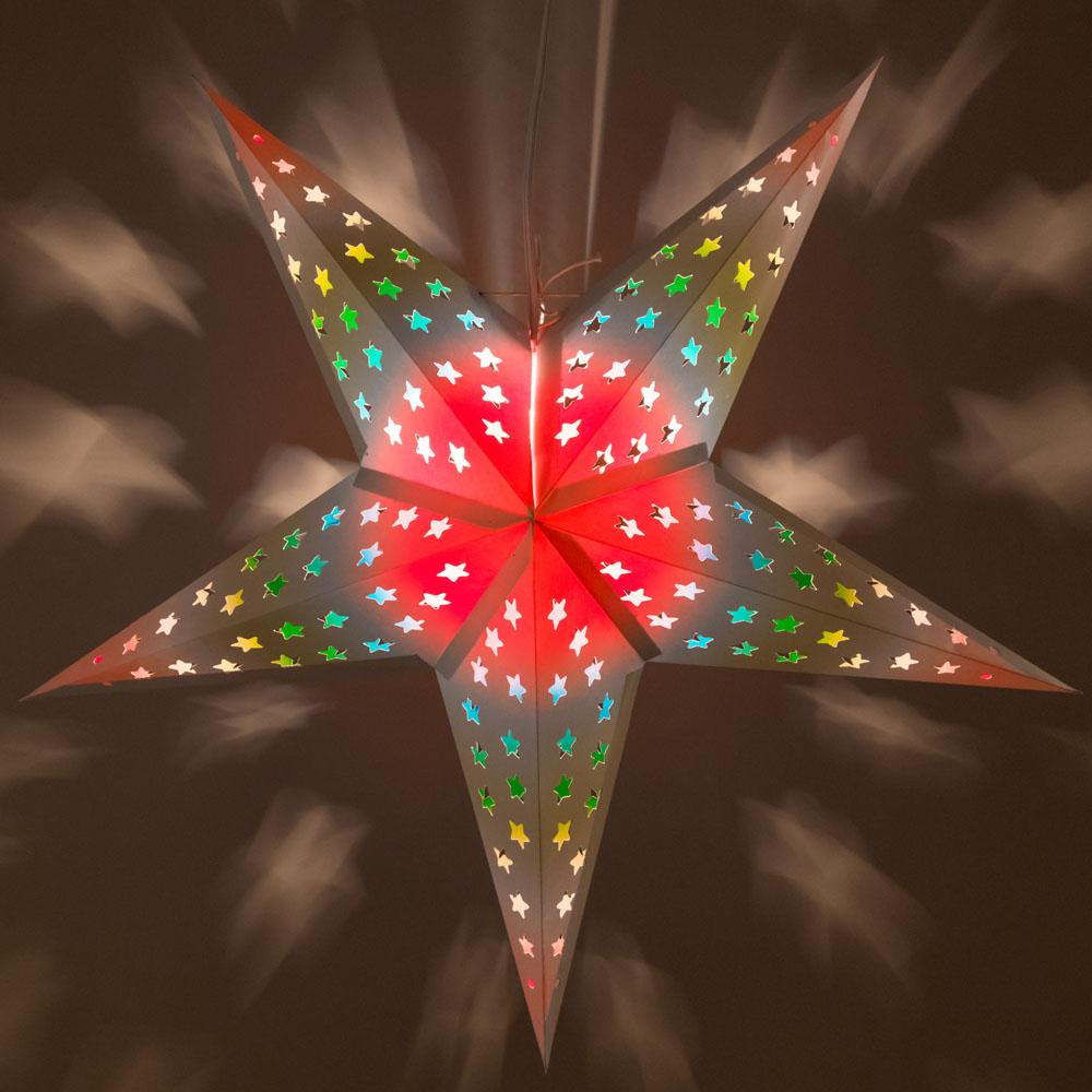 "24"" Glossy White Star w/ Inner Rainbow Kaleidoscope Paper Star Lantern, Chinese Hanging Wedding & Party Decoration - AsianImportStore.com - B2B Wholesale Lighting and Decor"