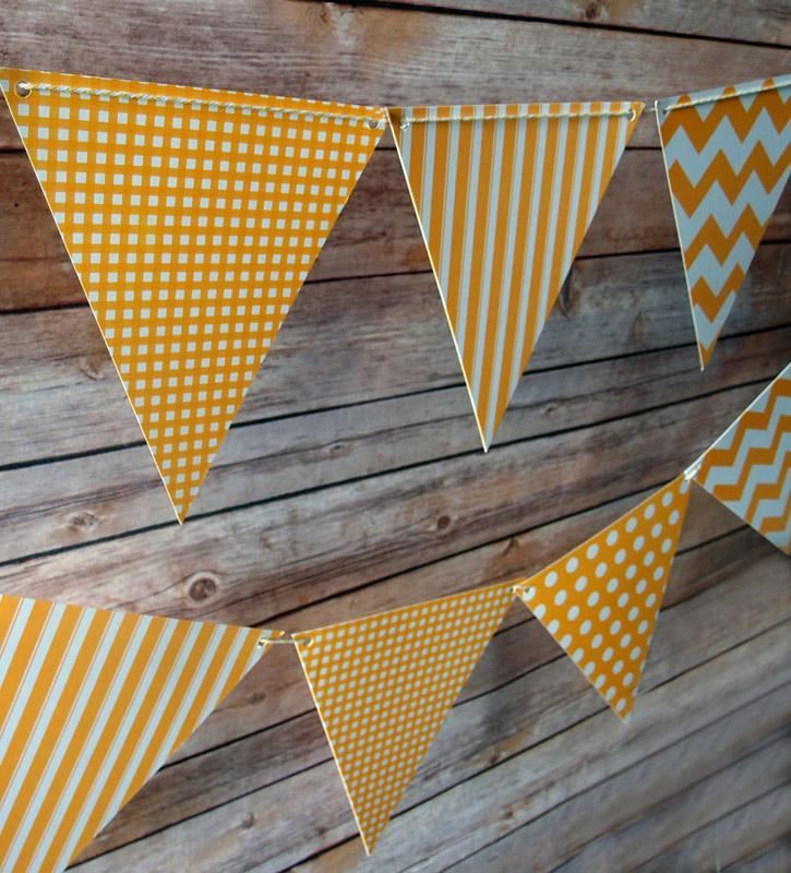 Orange Mix Pattern Triangle Flag Pennant Banner (11FT) (50 PACK) - AsianImportStore.com - B2B Wholesale Lighting and Décor