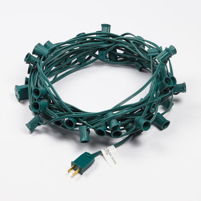 BLOWOUT (Cord Only) 50 Socket Outdoor Patio DIY String Light, 51 FT Green w/ E12 Base
