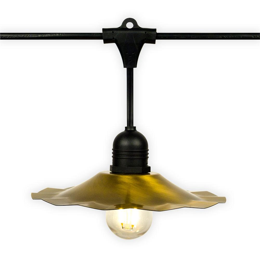 Patio Metal Light Bulb Shade for Outdoor Commercial String Lights, E26, Brass/Bronze