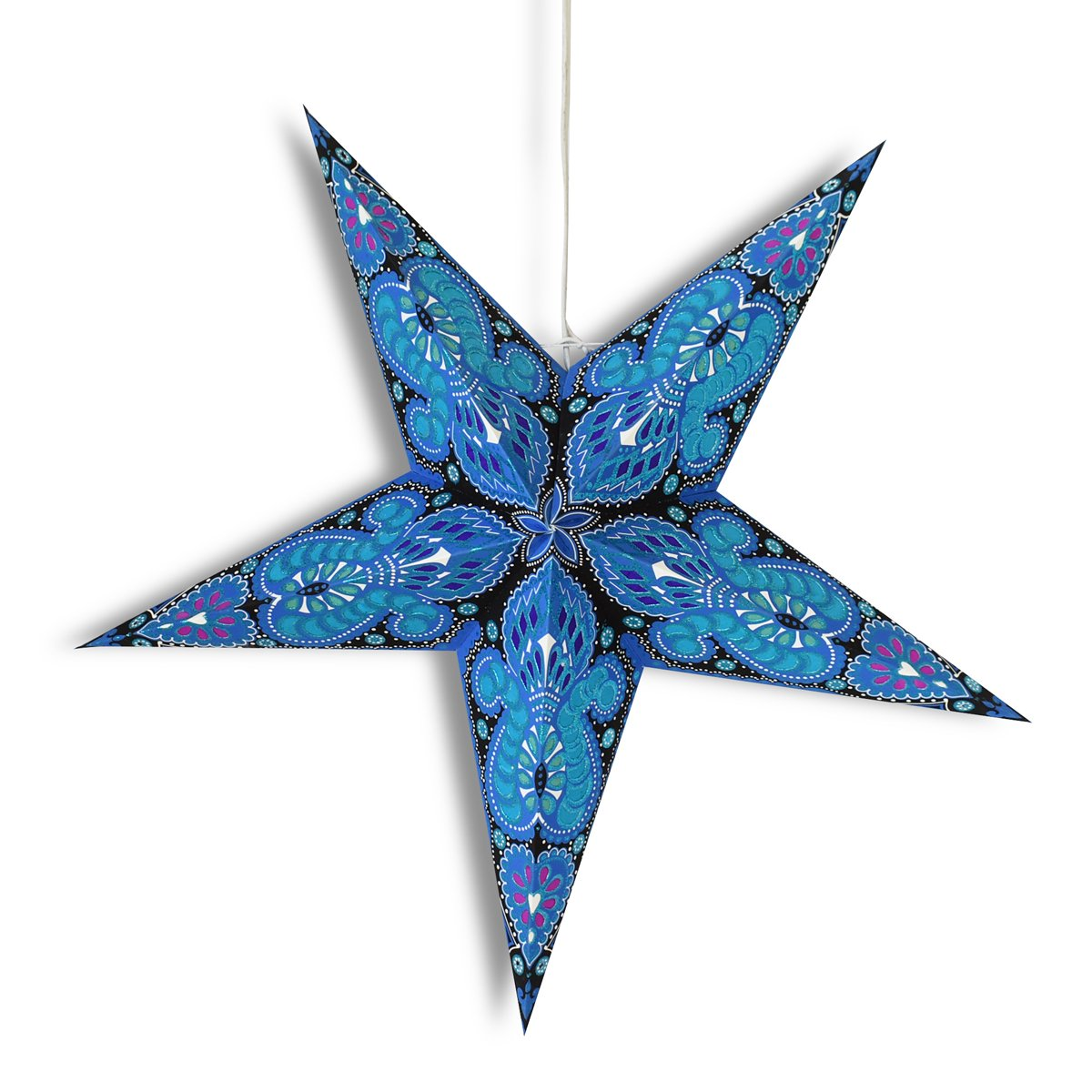 "24"" Blue Peacock Glitter Paper Star Lantern, Hanging Wedding & Party Decoration - AsianImportStore.com - B2B Wholesale Lighting and Decor"