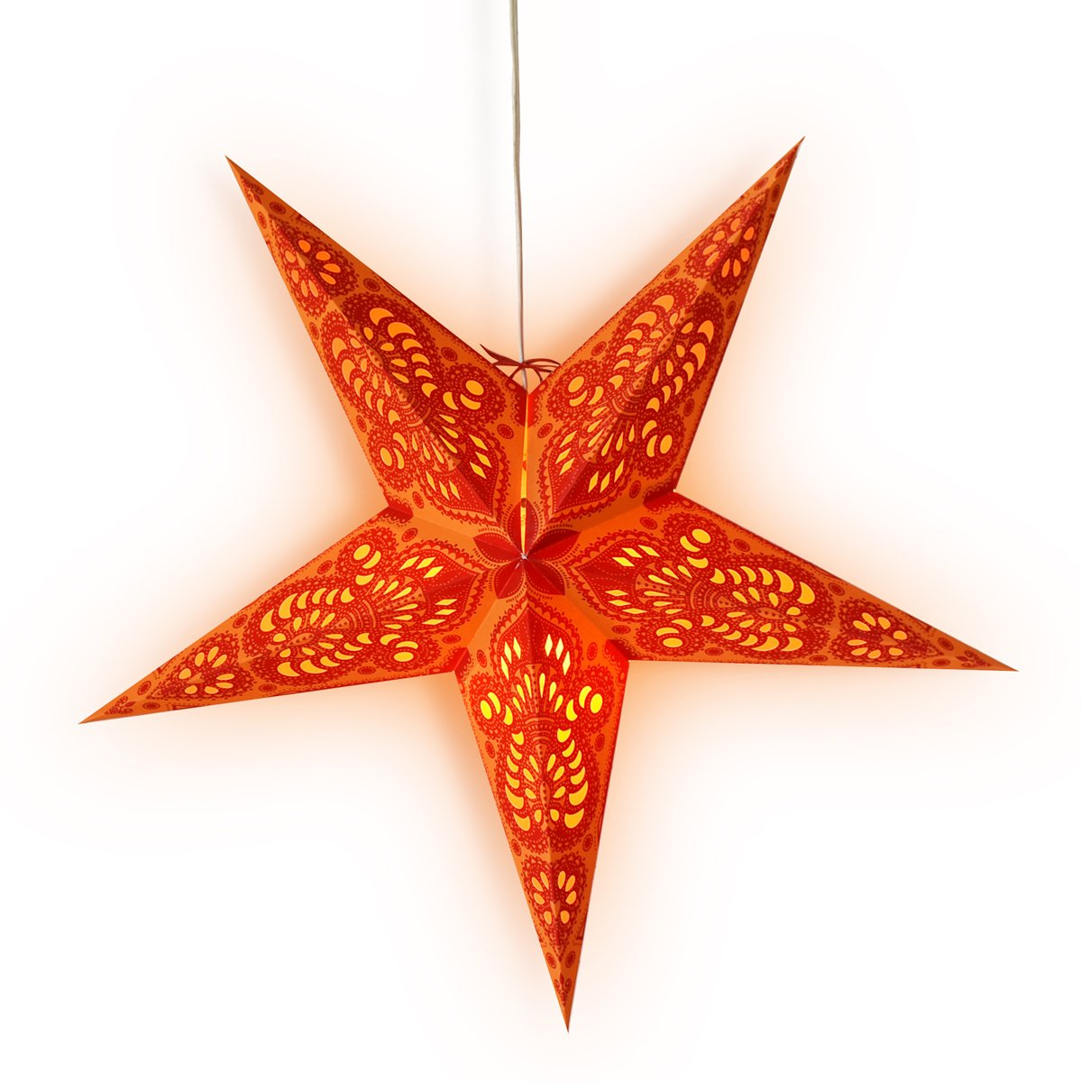 "24"" Orange Peacock Paper Star Lantern, Hanging Wedding & Party Decoration - AsianImportStore.com - B2B Wholesale Lighting and Decor"