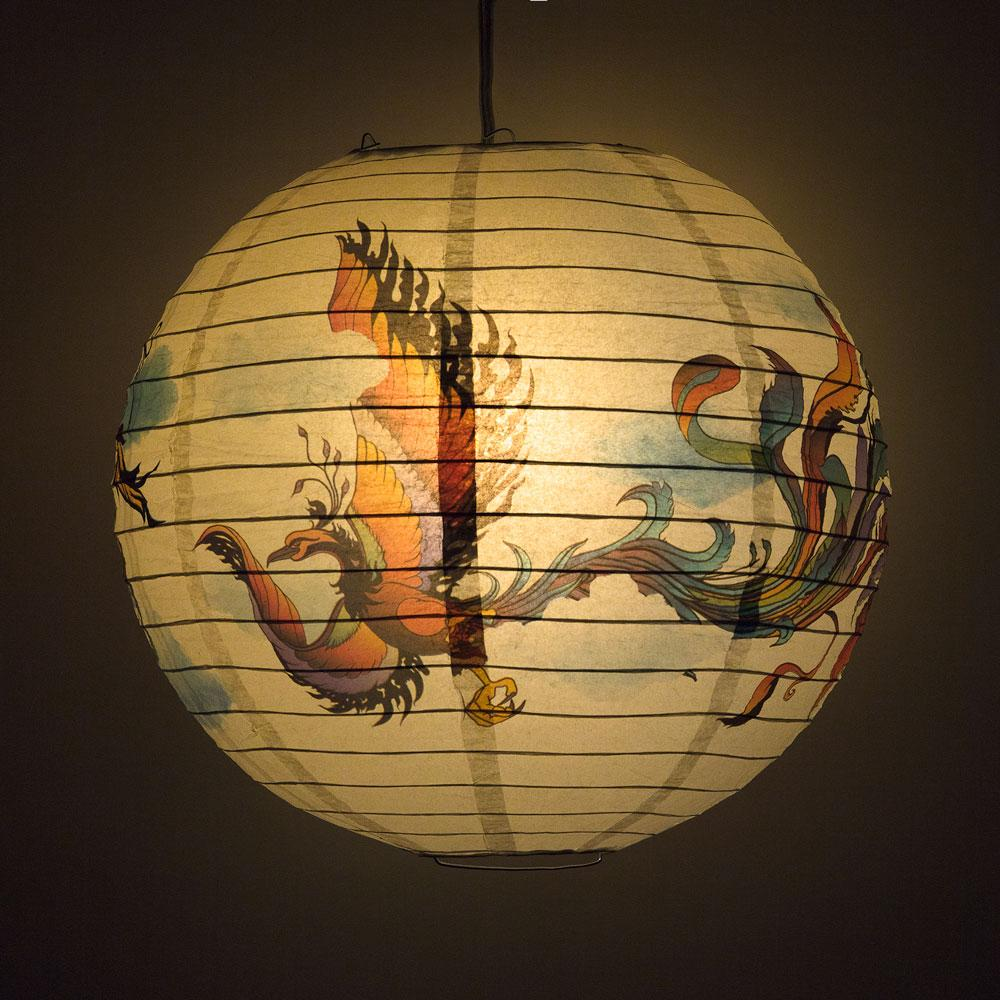 "14"" Flying Phoenix Paper Lantern, Design by Esper"