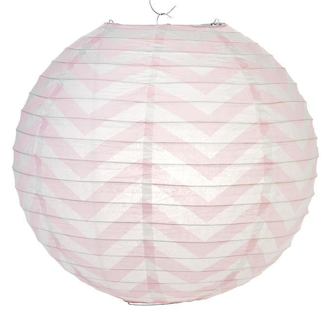 "14"" Pink Chevron Paper Lantern, Even Ribbing, Hanging Decoration (100 PACK) - AsianImportStore.com - B2B Wholesale Lighting and Décor"