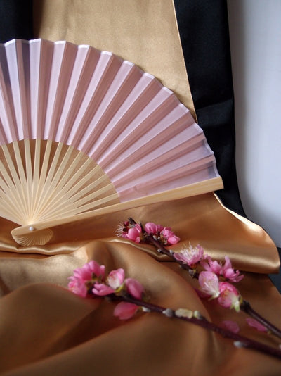 "9"" Pink Silk Hand Fans for Weddings (10 Pack) - AsianImportStore.com - B2B Wholesale Lighting and Decor"