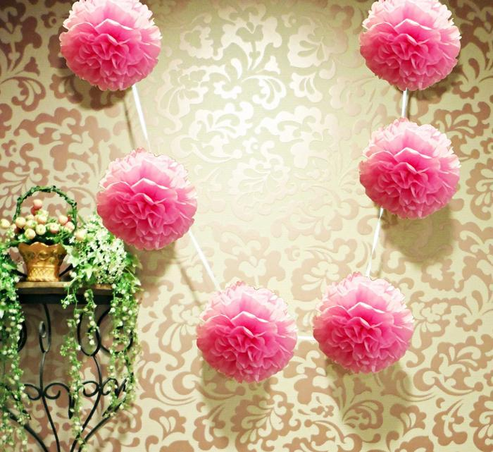 "EZ-Fluff 6"" Pink Passion Hanging Tissue Paper Flower Pom Pom, Party Garland Decoration (20 PACK) - AsianImportStore.com - B2B Wholesale Lighting and Décor"