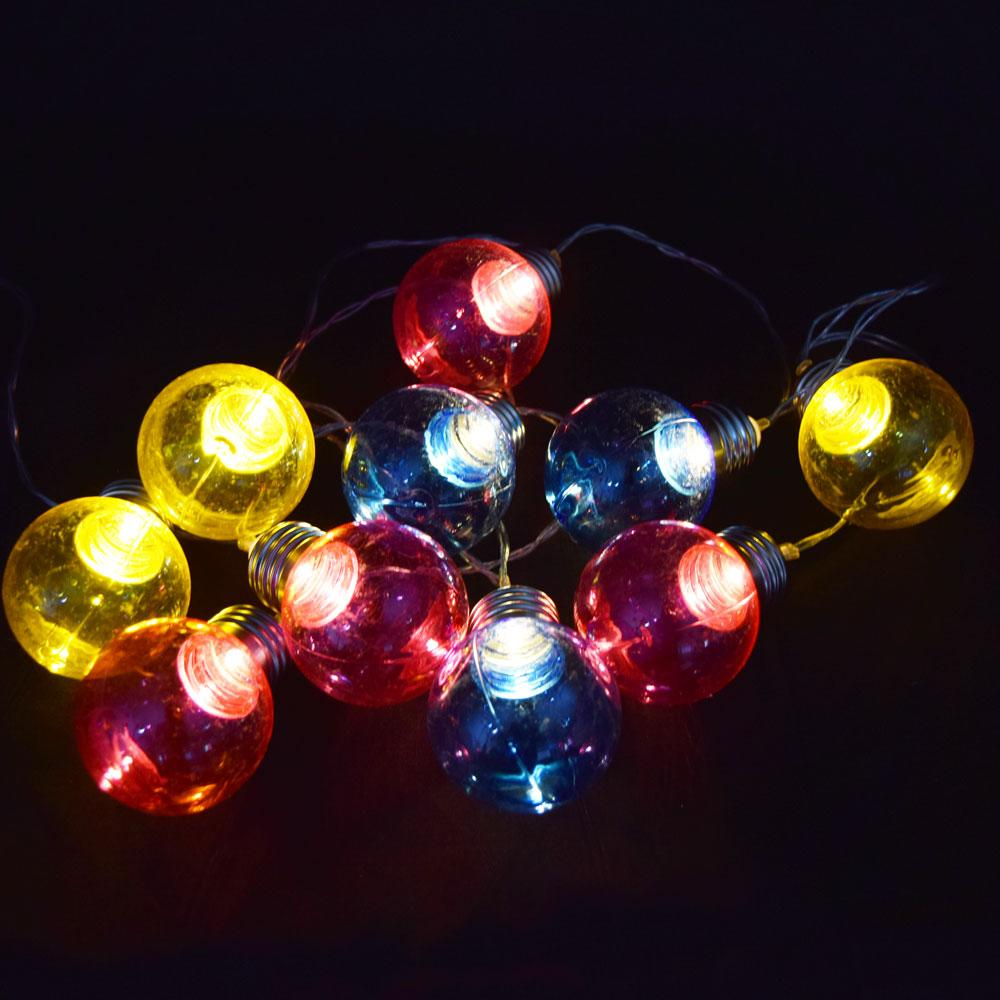 BLOWOUT 10 LED RBY Hard Plastic Light Bulb Shaped String Lights, 5.5 FT, Battery Operated