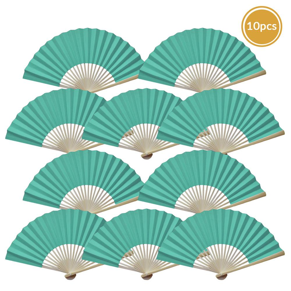 "9"" Cool Mint Green Paper Hand Fans for Weddings, Premium Paper Stock (10 Pack)"