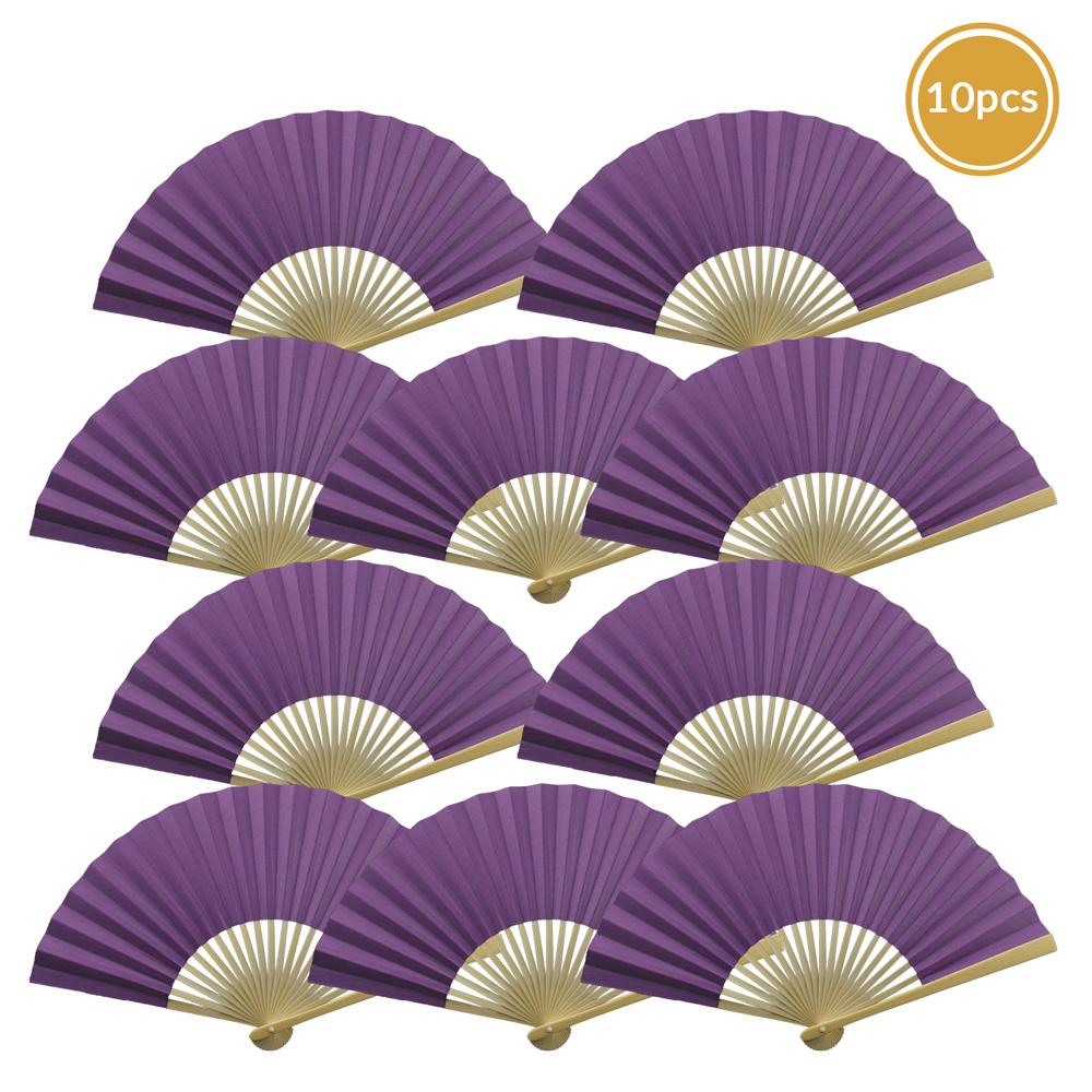 "9"" Dark Purple Paper Hand Fans for Weddings, Premium Paper Stock (10 Pack)"