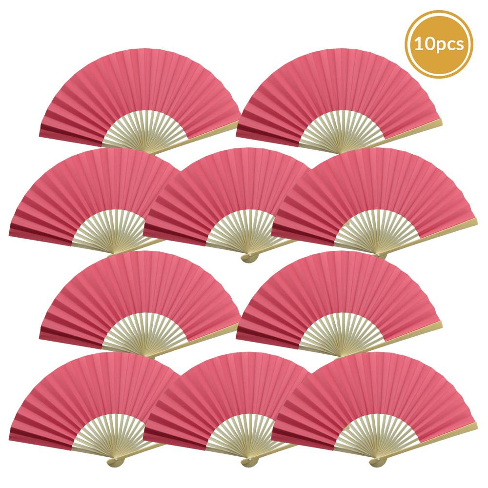 "9"" Fuchsia / Hot Pink Paper Hand Fans for Weddings, Premium Paper Stock (10 Pack) - AsianImportStore.com - B2B Wholesale Lighting and Decor"