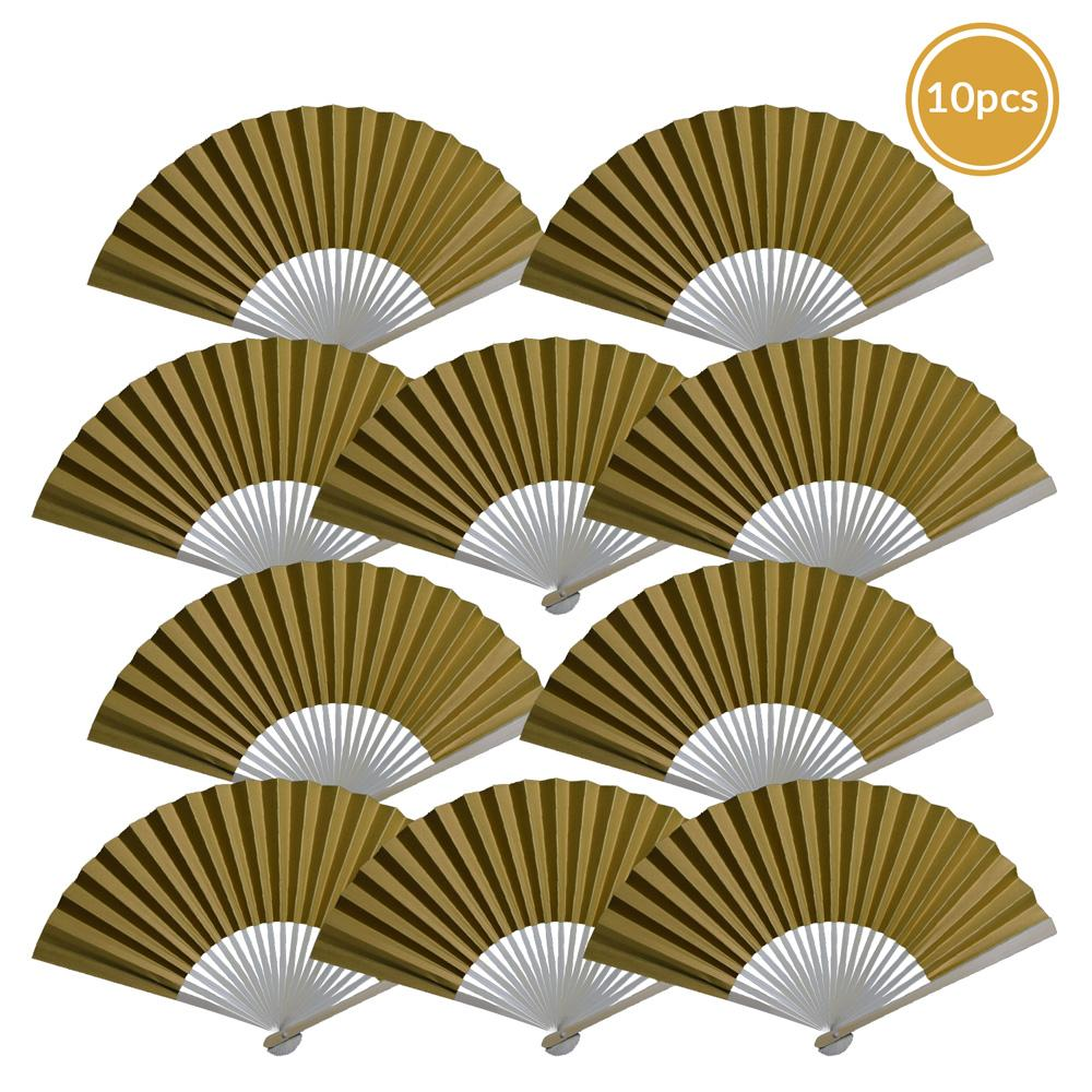 "9"" Gold Paper Hand Fans for Weddings, Premium Paper Stock (10 Pack)"