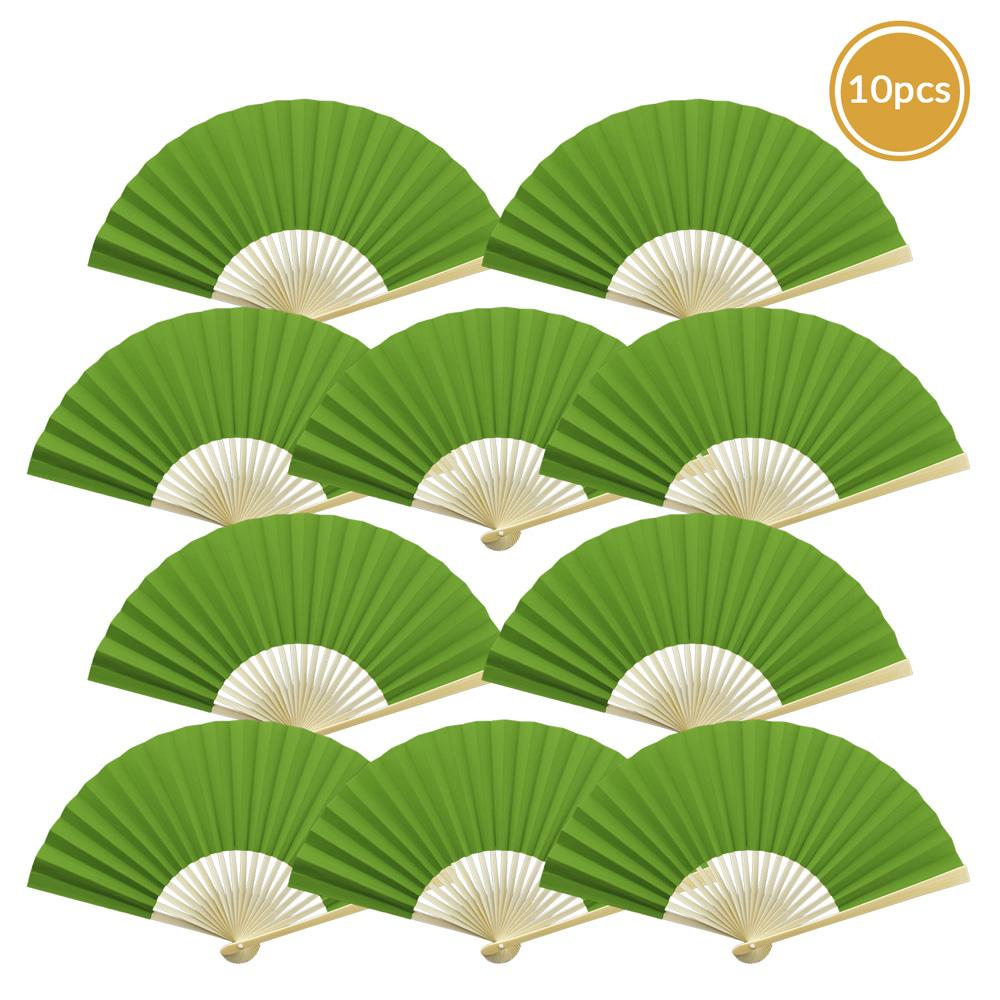 "9"" Grass Greenery Paper Hand Fans for Weddings, Premium Paper Stock (10 Pack)"