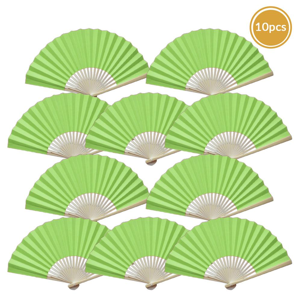"9"" Light Lime Green Paper Hand Fans for Weddings, Premium Paper Stock (10 Pack)"
