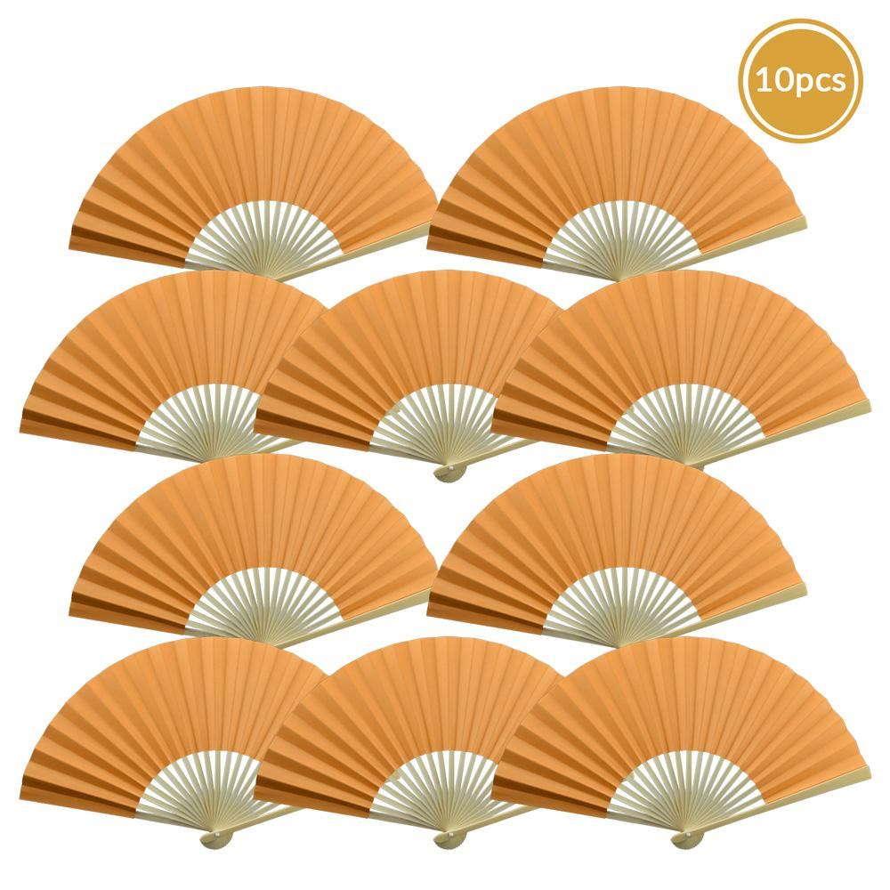 "BLOWOUT 9"" Papaya Paper Hand Fans for Weddings, Premium Paper Stock (10 Pack)"