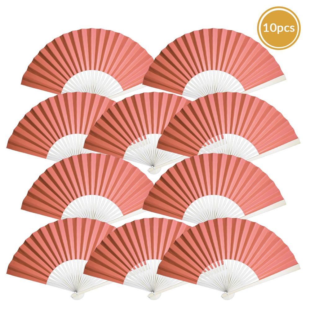 "9"" Roseate / Pink Coral Paper Hand Fans for Weddings, Premium Paper Stock (10 Pack)"