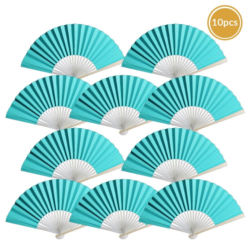 "9"" Turquoise Paper Hand Fans for Weddings, Premium Paper Stock (10 Pack)"