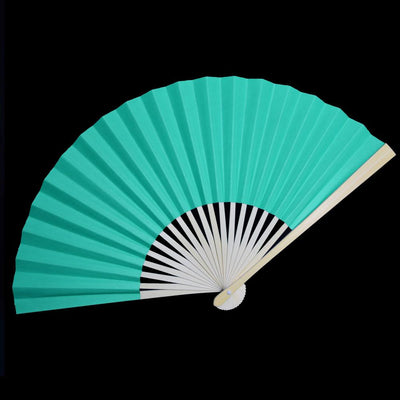 "9"" Water Blue Paper Hand Fans for Weddings, Premium Paper Stock (10 Pack)"