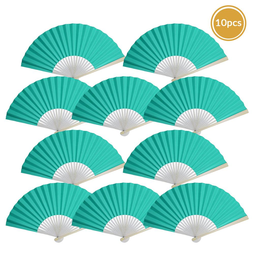"9"" Water Blue Paper Hand Fans for Weddings, Premium Paper Stock (10 Pack) - AsianImportStore.com - B2B Wholesale Lighting and Decor"