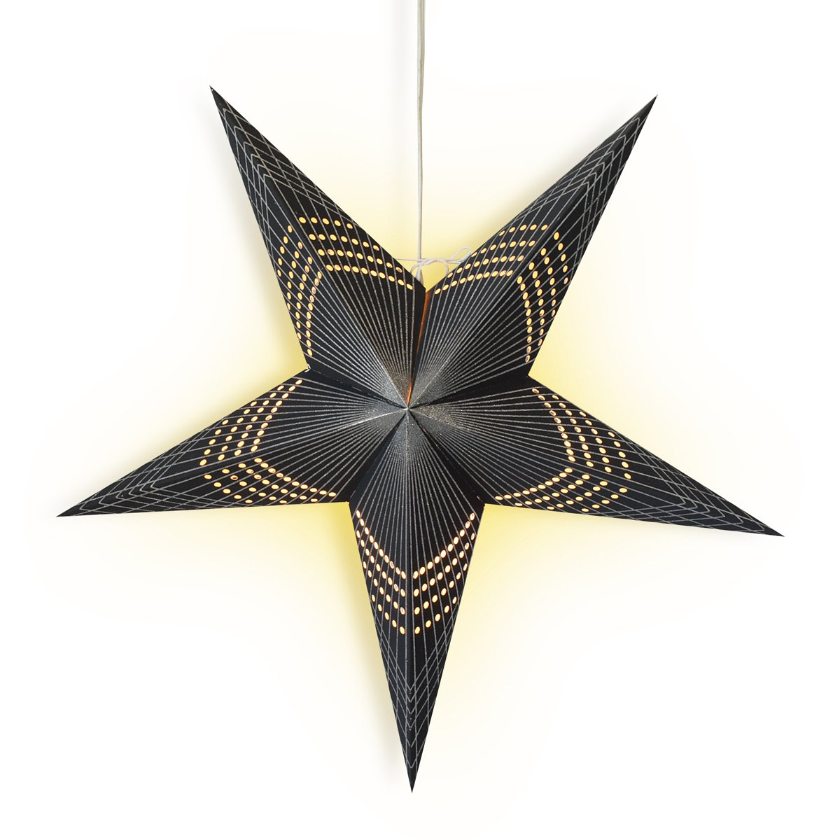 "24"" Black Prism Glitter Paper Star Lantern, Hanging Wedding & Party Decoration"