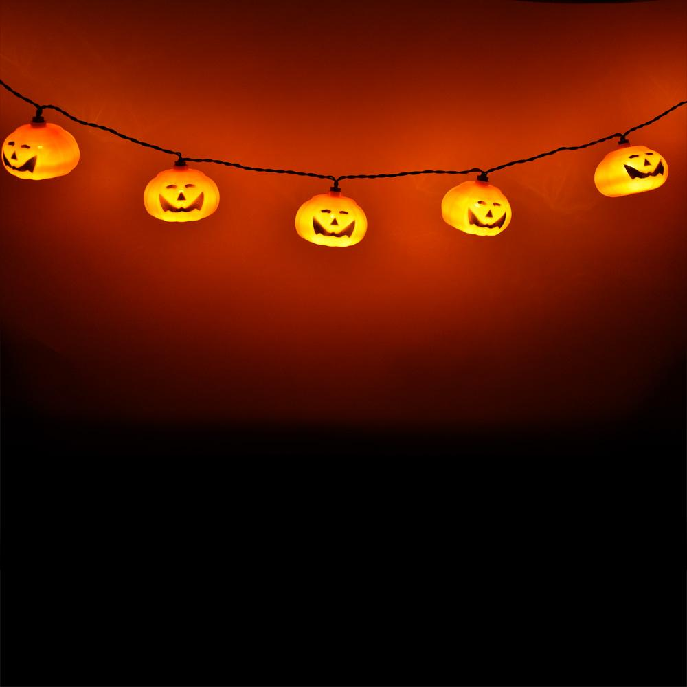 10 LED Jack-o-Lantern Pumpkin Halloween String Light, 5.5 FT Battery Operated Powered - AsianImportStore.com - B2B Wholesale Lighting and Decor