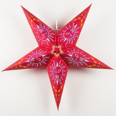 "24"" Purple Sun Window Paper Star Lantern, Chinese Hanging Wedding & Party Decoration"