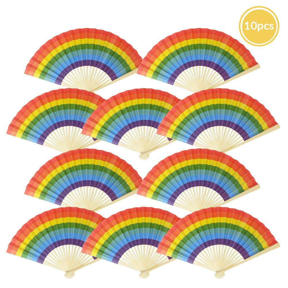 "9"" Rainbow Multi-Color Paper Hand Fans for Weddings, Parties, Premium Paper Stock (10 PACK)"