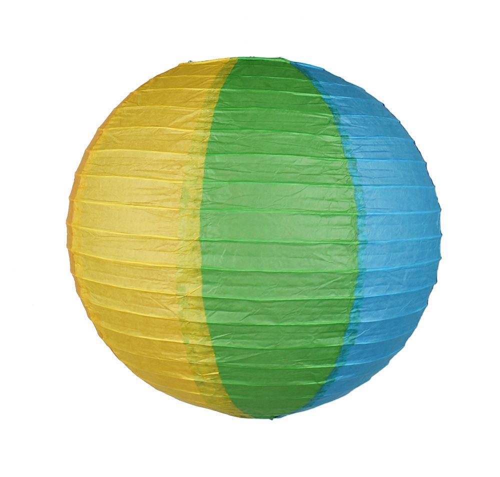 "14"" Rainbow Multi-Color Paper Lantern, Even Ribbing, Hanging Decoration"