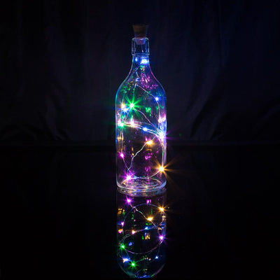 15 Super Bright RGB LED Battery Operated Wine Bottle lights With Real Cork DIY Fairy String Light For Home Wedding Party Decoration