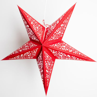 "BLOWOUT 24"" Red Glitter Holiday Paper Star Lantern, Hanging Decoration"