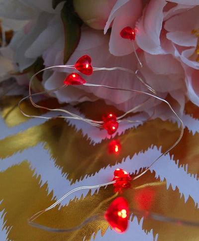 BLOWOUT 20 Red Heart LED Micro Fairy String Lights, Wire (4ft, Battery Operated)