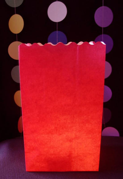 Red Solid Color Paper Luminaries / Luminary Lantern Bags Path Lighting (10 PACK)