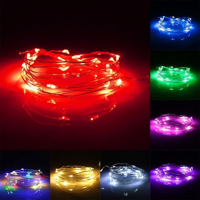 7.5 FT | 20 LED Battery Operated Red Fairy String Lights With Silver Wire - AsianImportStore.com - B2B Wholesale Lighting and Decor